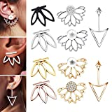 10 Pairs Ear Jacket Stud Lotus Flower Earrings for Women and Girls Set for Sansitive Ears Simple Chic Jewelry: more info
