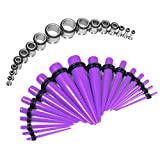 Taper Kit 12G-00G Purple Tapers with Plugs Surgical Steel 316L Single Flared Tunnels Stretching Kit - 32 Pieces