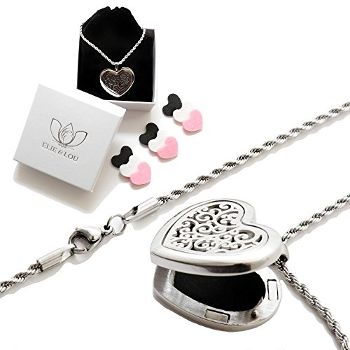 Luxury Essential Oil Diffuser Necklace Aromatherapy Gift Set - Hypo-Allergenic 316L Surgical Grade Stainless Steel Locket Pendant with 23.5' Chain + 9 Re-usable Diffuser Pads (3 x Black, White & Pink)