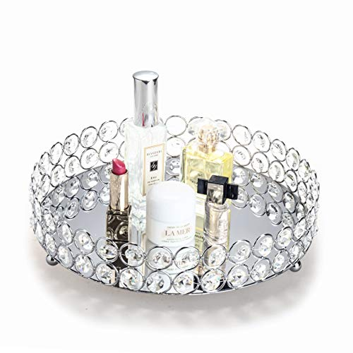 Feyarl Mirrored Crystal Vanity Makeup Tray Ornate Jewelry Trinket Tray Organizer Cosmetic Perfume Bottle Tray Decorative Tray Home Deco Dresser Skin Care Tray Storage (Round 10