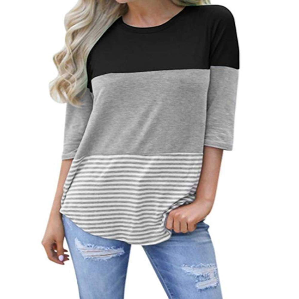 ANDYICEE Womens 3/4 Sleeve Casual Lace Patchwork Color Block T-Shirt Blouses Loose Striped Tops Tee Shirts (Medium, Black)