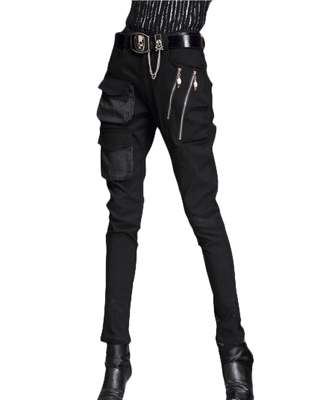 Minibee Pernalized Punk Street Style Harem Pants Patchwork Zipper Pockets