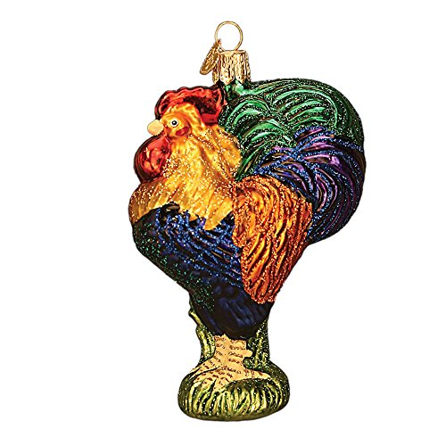 Old World Christmas Ornaments: Heirloom Rooster Glass Blown Ornaments for Christmas Tree