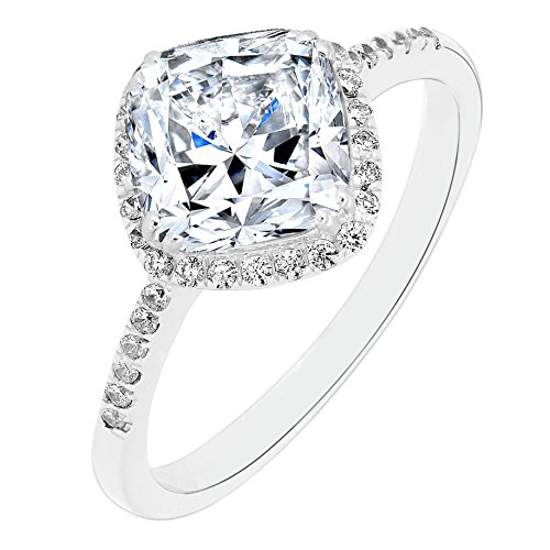 Sterling Silver Cushion Cut Diagonal Cubic Zirconia Bridal Engagement Ring (3 CT.T.W)