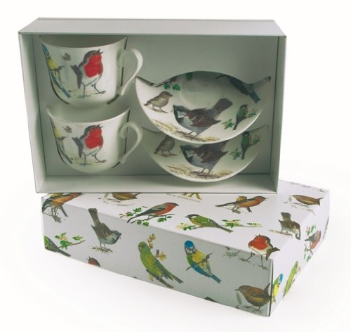 Roy Kirkham 2 Garden Birds Bone China Breakfast Cups & Saucers ()