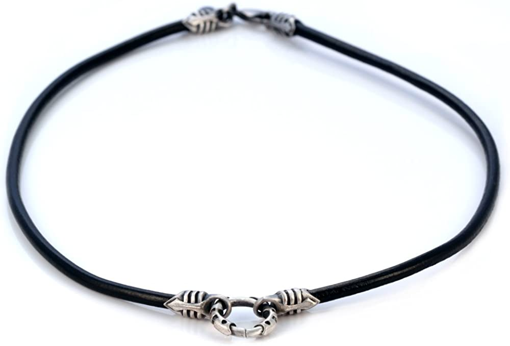 Bico 4mm (0.16 inch) Black Leather Necklace with a Silver Loop and Ends (CL1 Black)