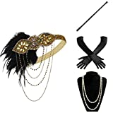 BABEYOND 1920s Flapper Gatsby Costume Accessories Set 20s Flapper Headband Pearl Necklace Gloves Cigarette Holder (Set-12)
