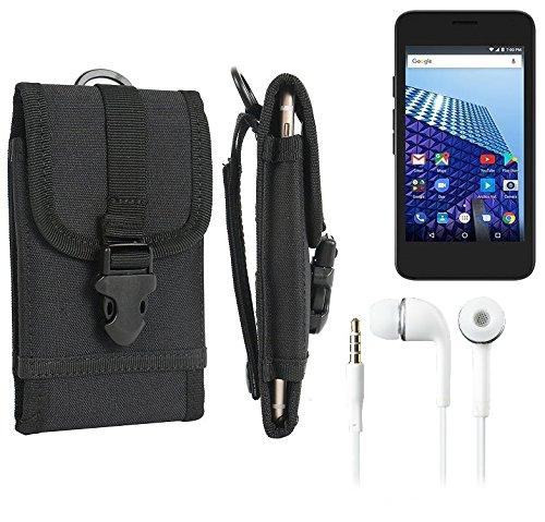 bolsa del cinturón / funda para Archos Access 45 4G, negro + Auriculares | caja del teléfono cubierta protectora bolso - K-S-Trade (TM)