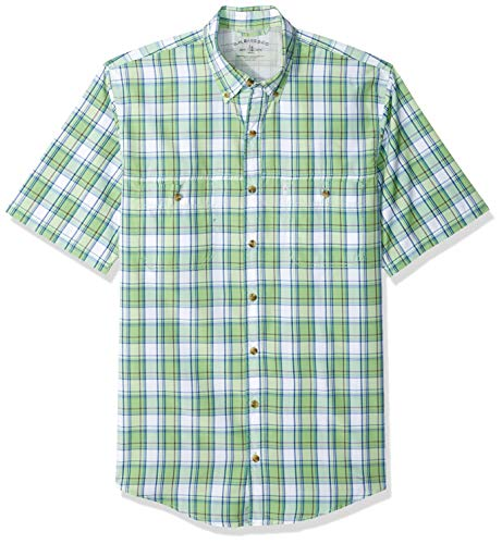 (G.H. Bass & Co. Men's Big and Tall Explorer Short Sleeve Fishing Shirt Plaid Button Pocket, Grass Green-1, Large)