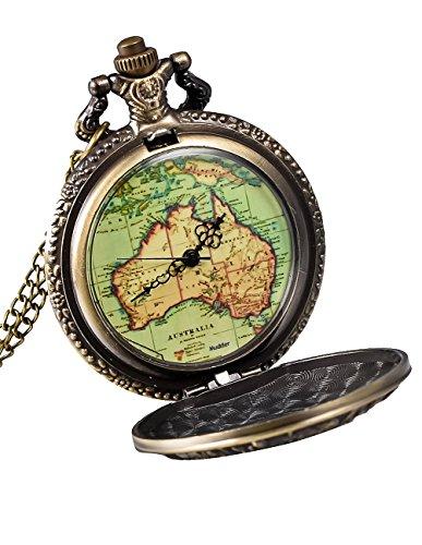 Mudder Bronze Pendant Watch Antique Map Pocket Watch