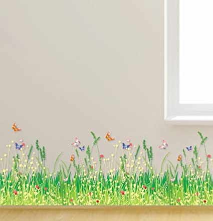 dddf1c1d5 Kappier Colorful Spring Wild Flowers with Butterflies Peel   Stick Wall  Decals - - Amazon.com