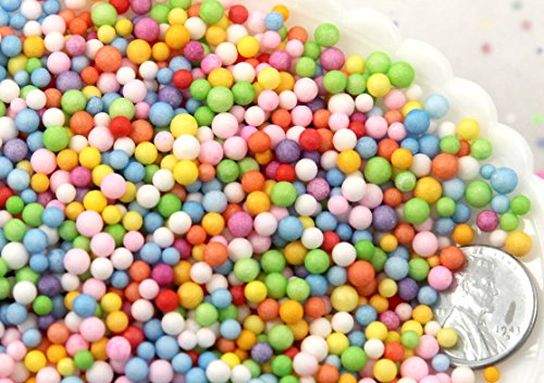 Styrofoam Balls - Fake Sprinkles - 2mm Tiny Fake Nonpareils Round Sprinkles Lightweight Faux Candy Plastic Topping