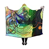 WUTMVING Hooded Blanket Silhouette Girl Movement Jump Dance Light Party Blanket 60x50 Inch Comfotable Hooded Throw Wrap