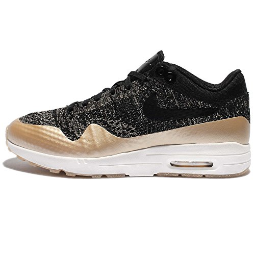 Nike Women's Wmns Air Max 1 Ultra 2.0 FK MTLC, BLACK/BLACK-MTLC GOLD STAR-FLAT OPAL, 7.5 US (Nike Air Max Womens Gold)
