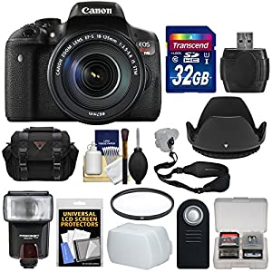 Canon EOS Rebel T6i Wi-Fi Digital SLR Camera & EF-S 18-135mm IS STM Lens with 32GB Card + Case + Strap + Filter + Flash + Remote + Kit