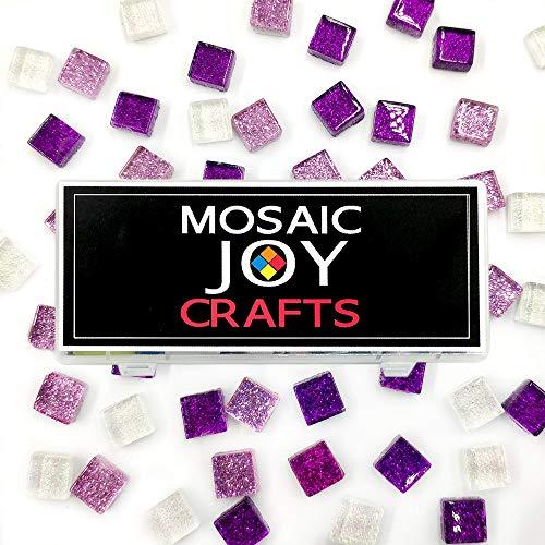 MosaicTiles for Crafts Purple Assorted Color 320 Pieces Violet Glass Glitter Mosaic Supplies Pieces Bulk Square Shape 0.4X0.4 Inch by Mosaic Joy (Purple, ()