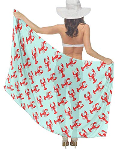 Women's Chiffon Red Lobster Pattern Mint Green Beach Scarf Soft Smooth Sunscreen Wrap Shawl Scarves Bikini Cover-up Wrap Scarf Swimsuit Sarongs Summer Beach Coverups