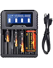 TrustFire 26650 18650 Smart Battery Charger 4 Bay Cig Fast Charger QC3.0 Type-C Intelligent USB Port for Rechargeable Batteries Li-ion 10440 14500 16340 18350 22500 32650 Ni-Mh(NiCd) AA AAA AAAA C.D
