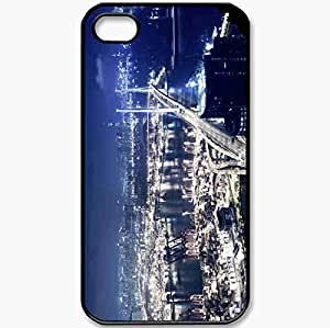 Protective Case Back Cover For iPhone 4 4S Case Night Bridge Lights Black