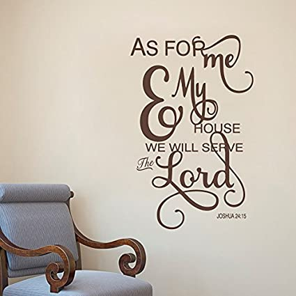 Amazon.com: As For Me And My House - Wall Decals Quotes - Christian ...