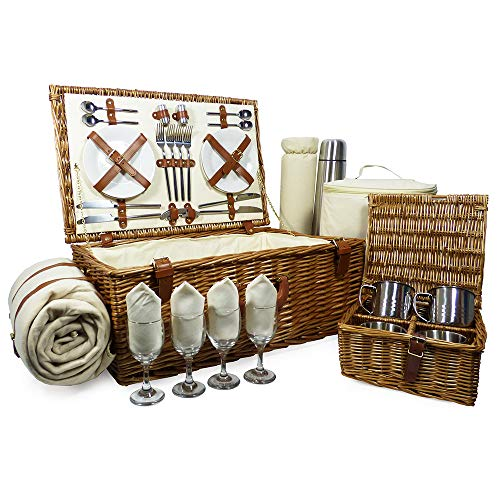 Victoria 4 Person Fully Fitted Wicker Picnic Basket