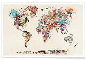 JUNIQE Posters Xcm World Maps Design World Map Watercolor - Artistic world map
