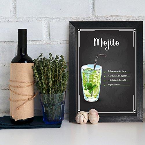 Quadro Decorativo Bebida Mojito 22x32 com Moldura Preta