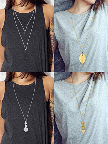 4 Pieces Long Pendant Necklace Set, Layer Simple Bar Necklace Tassel Y Strands for Women (Style 2)]()
