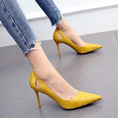 YMFIE Las señoras Atractivas del Alto talón de la Manera Europea del Remache del Estilo Multan con los Zapatos Planos Huecos Acentuados de la Boca Baja B