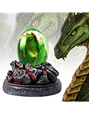 BBXWANG Lava Dragon Egg 3 Colors Dragon Statue, Handmade Sculpture Lifelike Resin Crystal Transparent Dragon Egg Ornaments, Lava Dragon Egg Souvenirs, for Desktop Ornaments Without Lava Base