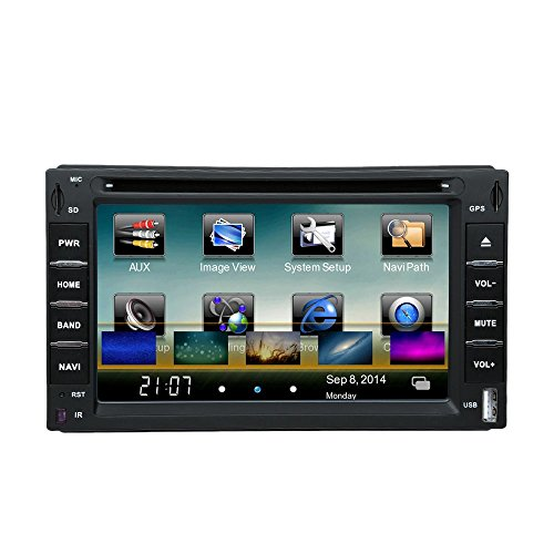 "KKmoon In-Dash Double-Din 6"" Car DVD USB SD Player GPS Navigation Bluetooth Radio Multimedia HD Entertainment System for All Car"