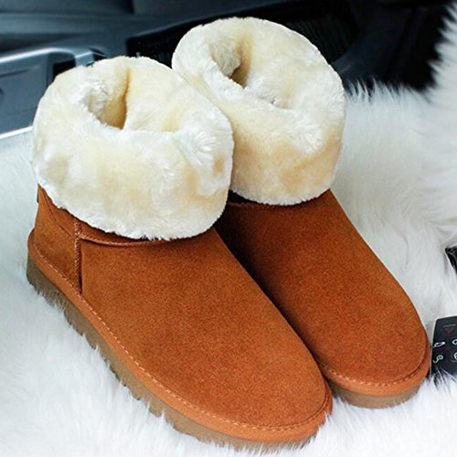 Keep Winter Mid Fleece Unisex Wearable Brown Lined Eastlion Boots 35 Calf Shoes Size Boots Outdoor Sequins 44 Warm Snow Short tP5pBwq