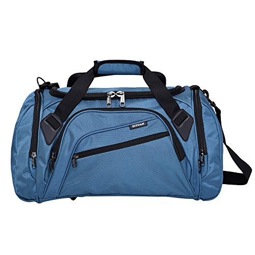 SIYUAN Athletic Duffel Bags, Foldable Gym Sports Bag Shoe Compartment with Adjustable Strap,RoyalBlue,Medium (Drawstring Main Compartment Has)