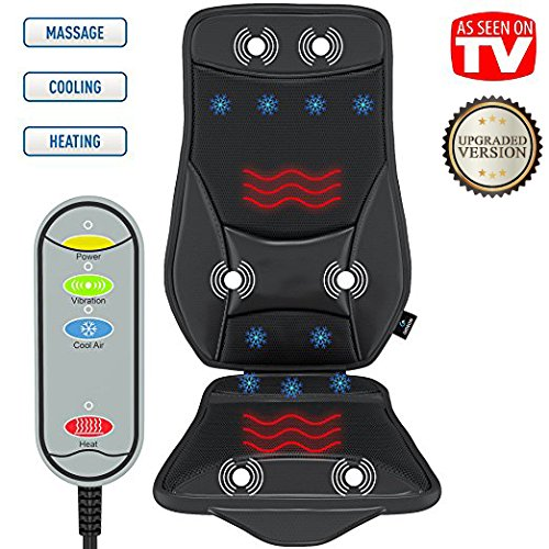 Gideon Luxury Car Seat Cushion, Cooling and Heating Ventilated Seat Cushion for Car, Home or Office – with Vibrating Massager, Back Massager Cushion - Maximize Comfort During Travel [UPGRADED]