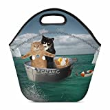 "InterestPrint Lunch Bag Funny Catanic Two Cats Cosplay Titanic Waterproof Neoprene Gourmet Insulating Lunch Tote Portable Lunchbox Handbag 11.93"" x 11.22"" x 6.69"""
