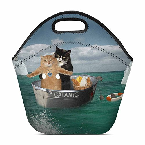 InterestPrint Lunch Bag Funny Catanic Two Cats Cosplay Titanic Waterproof Neoprene Gourmet Insulating Lunch Tote Portable Lunchbox Handbag 11.93