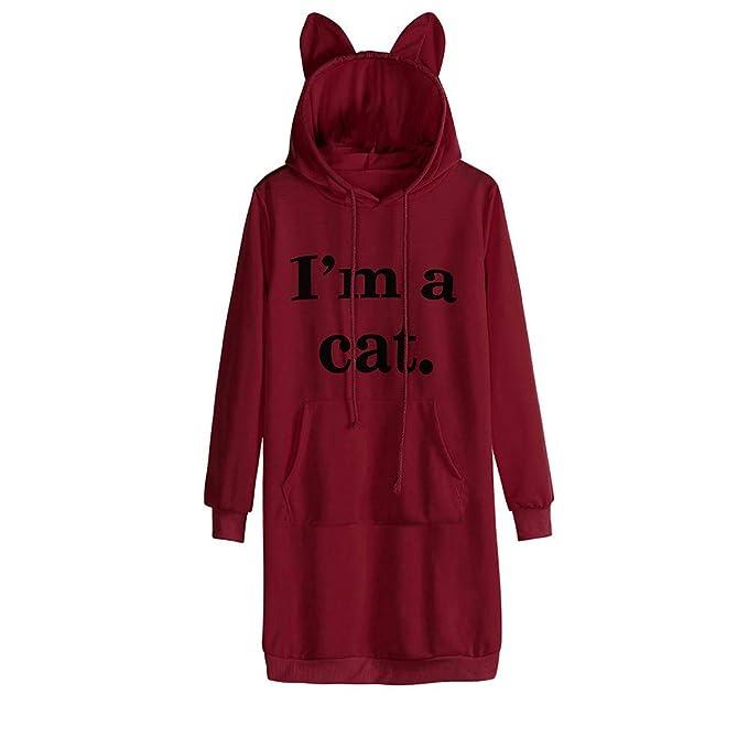 Modaworld _Vestidos Mujer Otoño Invierno Sudadera con Capucha Manga Larga para Mujer Gato Oreja Mini Vestido. Pasa el ratón por ...
