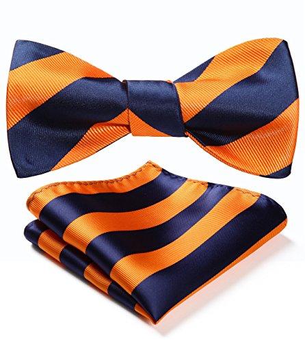 HISDERN Men's Stripe Jacquard Woven Wedding Party Self Bow Tie Set Navy Blue/Orange