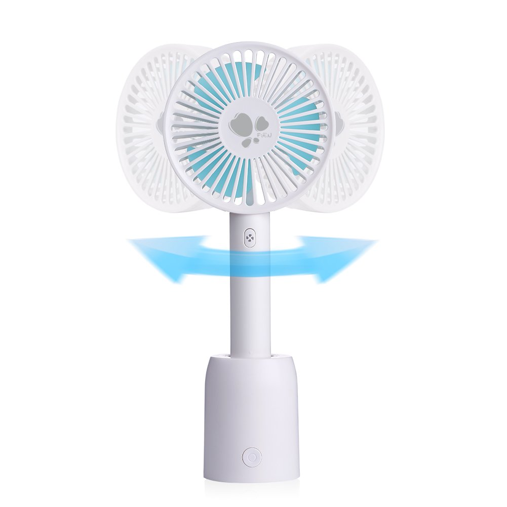 WDLAMD Oscillating Fan, Personal Portable Handheld Cooling Fan with Base and Built-in battery for Office Room Outdoor sports Traveling (3 Speed, White)