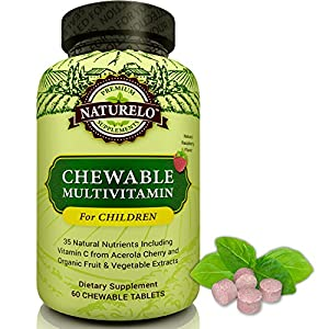 NATURELO Chewable Multivitamin for Children - With Natural Vitamins, Minerals and Organic Fruit & Vegetable Extracts - Best for 4 to 16 Year Old Kids - Delicious Raspberry Flavor - 60 Tablets