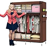 ULHome 10140H Portable Clothes Closet Wardrobe Fabric Clothes Storage Organizer 69 x 43 x 18in (Coffee.)