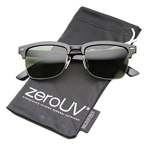 zeroUV - Classic Horn Rimmed Square Lens Semi-Rimless Sunglasses 52mm (Shiny Black-Gold / - Rimless Semi Square Glasses
