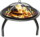 """Sorbus Fire Pit 22"""", Portable Outdoor Fireplace, Backyard Patio Fire Bowl, Foldable Legs, - Includes Safety Mesh Cover, Poker Stick and Carry Bag, Great for Camping, Outdoor Heating, Bonfire, Picnic,"""