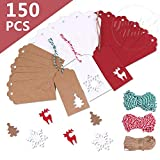 150 Pcs Kraft Christmas Tags Hang Labels Christmas Tree Snowflake Reindeer Design and 3 Styles Twines for DIY Arts and Crafts Christmas Wedding Gift Party Favor Decoration (Chrismas)