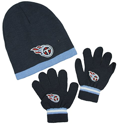 Tennessee Titans NFL Little Boys Knit Hat and Gloves Set - Red (Kids 4-7) ()