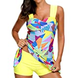 Rambling Women's High Waist Conservative Geometry Blocks Printing Swimdress Swimsuit Plus Size Swimwear S-5XL
