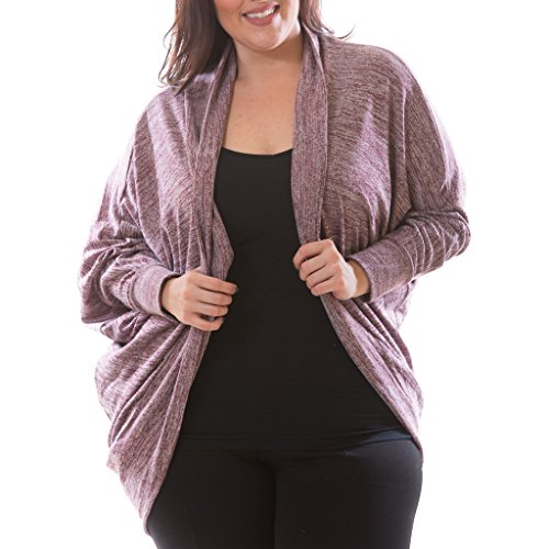 [71303XR-BRG-2X] Women's Plus Size Cocoon Cardigan Long Sleeve Brushed Knit Wrap