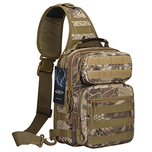 G4Free Outdoor Tactical Sling Backpack, Military Sport Daypack Shoulder One Strap Small Backpack for Camping, Hiking, Trekking, Rover Molle Chest Pack(Pythons Grain Tan)