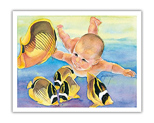 (Talk to the Fish - Hawaiian Baby (Keiki) Swims with Racoon Butterfly (Kikakapu Kapuhili) Fishes - Original Watercolor Painting by Janet Stewart - Hawaiian Fine Art Print - 11in x 14in)