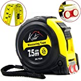Tools & Hardware : Measuring Tape Measure By Kutir - EASY TO READ 25 Foot BOTH SIDE DUAL RULER, Retractable, STURDY, Heavy Duty, MAGNETIC HOOK, Metric, Inches and Imperial Measurement, SHOCK ABSORBENT Solid Rubber Case
